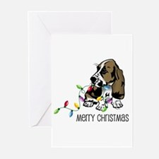Basset Christmas Lights Greeting Cards (Package of