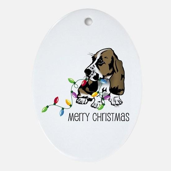 Basset Christmas Lights Oval Ornament