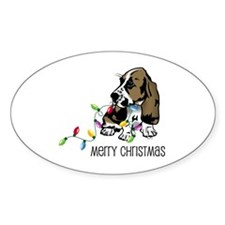 Basset Christmas Lights Oval Decal