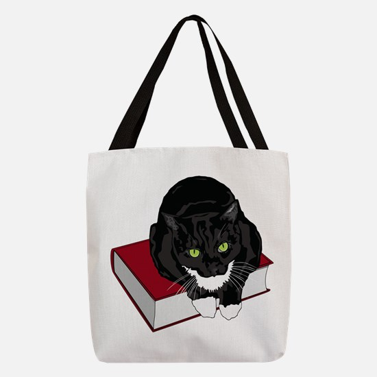 Tuxedo Cat Book Buddy Polyester Tote Bag