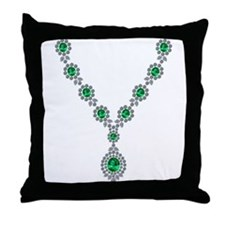 Emerald and Diamond Necklace Throw Pillow
