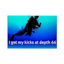 I get my kicks at depth 66 Rectangle Magnet