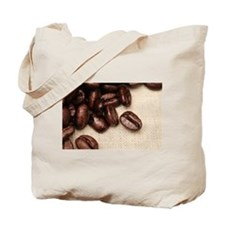 Roasted Coffee Beans On Rustic Linen Tote Bag