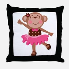 Monkey Ballerina Throw Pillow