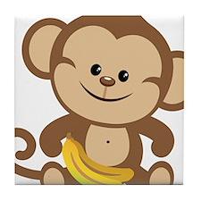 Boy Monkey With Bananas Tile Coaster