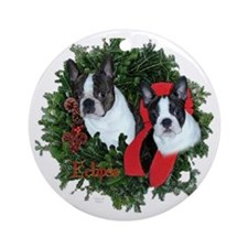 Boston Terriers Christmas Ornament (Round)