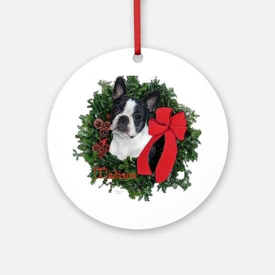 Boston Terrier Christmas Ornament (Round)