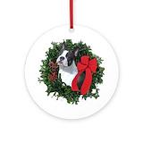 Boston terrier christmas Round Ornaments