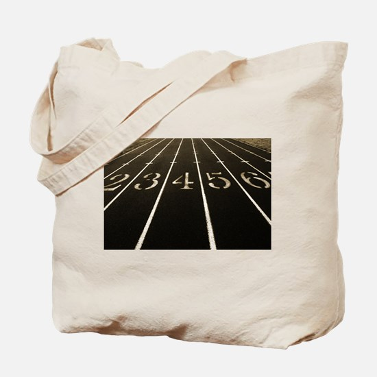 Race Track Numbers In Sepia Tone Tote Bag