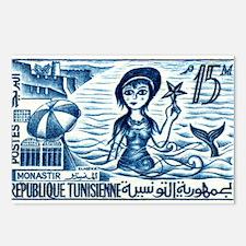 Vintage 1959 Tunisia Mermaid Postage Stamp Postcar