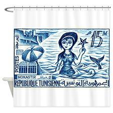 Vintage 1959 Tunisia Mermaid Postage Stamp Shower