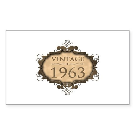 1963 Birthday Vintage (Rustic) Sticker (Rectangle)