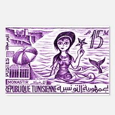 Vintage 1959 Tunisia Mermaid Postage Stamp Purple