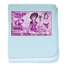 Vintage 1959 Tunisia Mermaid Postage Stamp Purple