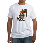 Monkey Playing Chess Fitted T-Shirt