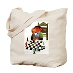 Monkey Playing Chess Tote Bag