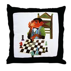 Monkey Playing Chess Throw Pillow