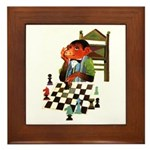 Monkey Playing Chess Framed Tile