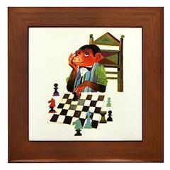 Monkey Playing Chess Framed Tile