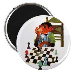 Monkey Playing Chess Magnet