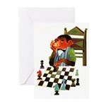 Monkey Playing Chess Greeting Cards (Pk of 10)