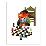 Monkey Playing Chess Small Poster
