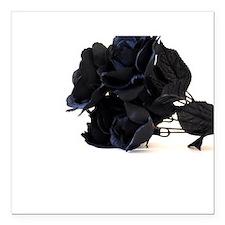 Black Roses on White Background Square Car Magnet