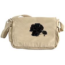 Black Roses on White Background Messenger Bag