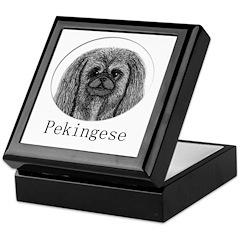 Pekingese Ink Drawing Keepsake Box