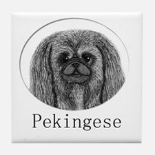 Pekingese Ink Drawing Tile Coaster