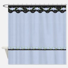 Blue Stripe And Roses Shower Curtain