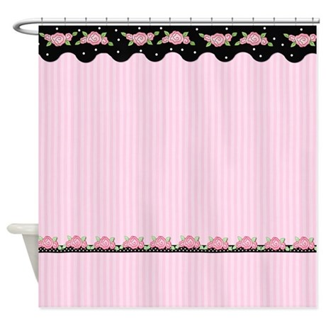 Floral Stripe Roses   Pink Shower Curtain