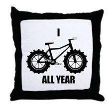 I Fatbike All year Throw Pillow