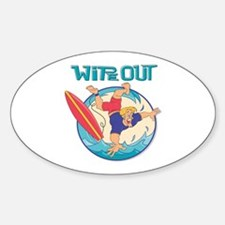 Wipe Out Surfer Oval Decal