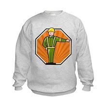 Emergency Worker Pointing Side Cartoon Sweatshirt
