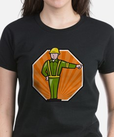 Emergency Worker Pointing Side Cartoon T-Shirt