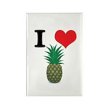 I Heart (Love) Pineapple Rectangle Magnet