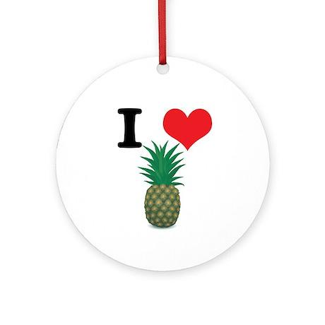 I Heart (Love) Pineapple Ornament (Round)