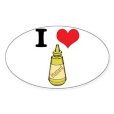 I Heart (Love) Mustard Oval Decal