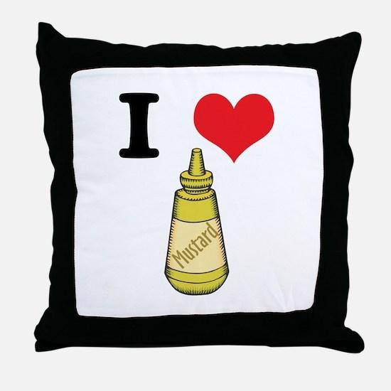 I Heart (Love) Mustard Throw Pillow