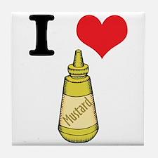 I Heart (Love) Mustard Tile Coaster