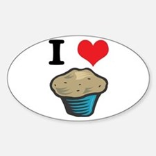 I Heart (Love) Muffins Oval Decal