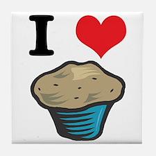 I Heart (Love) Muffins Tile Coaster