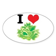 I Heart (Love) Lettuce Oval Decal