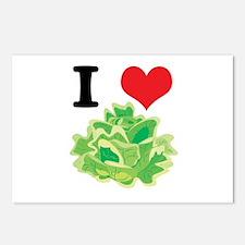 I Heart (Love) Lettuce Postcards (Package of 8)