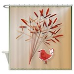 Leaves and Bird Shower Curtain