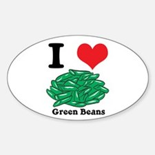 I Heart (Love) Green Beans Oval Decal