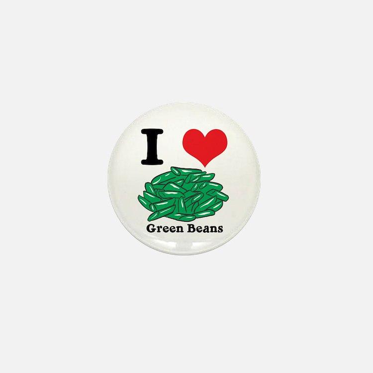 I Heart (Love) Green Beans Mini Button