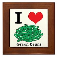 I Heart (Love) Green Beans Framed Tile