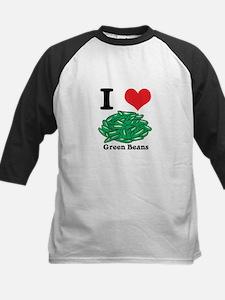 I Heart (Love) Green Beans Kids Baseball Jersey